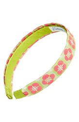 L. Erickson Satin Ribbon Headband Green Floral Tiles Pink Green