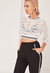 Missguided Contrast Elastic Trim Lace Crop White
