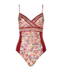 Gottex Panelled Printed Crossover Swimsuit Female Multi