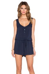 Velvet By Graham And Spencer Nolia Rayon Challis Romper Navy