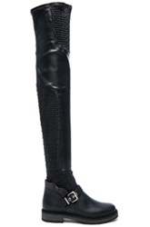 Fendi Leather Motorcycle Over The Knee Boots In Black