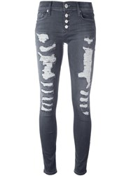 Hudson Distressed Skinny Jeans Grey