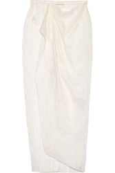 Baja East Wrap Effect Linen And Silk Blend Maxi Skirt
