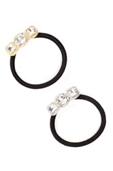 Cara Accessories Square Crystal Pony Tail Hair Ties Pack Of 2 Yellow