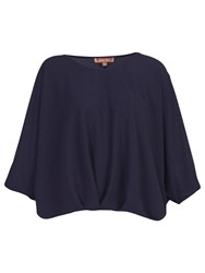 Jolie Moi Ruched Batwing Top Navy