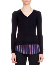 Altuzarra Long Sleeve V Neck Sweater W Striped Hem Navy