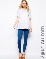 Asos Maternity Exclusive Denim Look Legging With Over The Bump Waistband