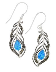 Lord And Taylor Sterling Silver Faux Opal Feather Drop Earrings Blue Silver