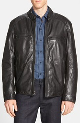 Andrew Marc New York 'Mac' Lightweight Leather Moto Jacket Black