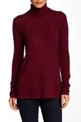 Cullen Rib Detail Hi Lo Cashmere Turtleneck Sweater Red