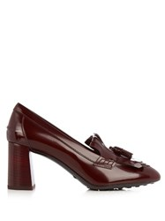Tod's Gomma Fringed Patent Leather Pumps Burgundy