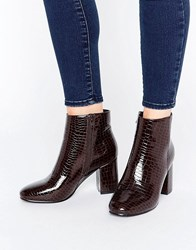 Asos Rosaline Heeled Ankle Boots Burgundy Patent Croc Brown