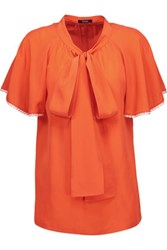 Raoul Raffaella Pussy Bow Silk Crepe De Chine Top Orange