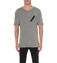 Replay Zip Patch Cotton T Shirt Melange Grey