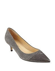 Ivanka Trump Warden Leather Kitten Pumps Dark Grey