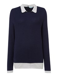 Dickins And Jones Collar And Cuff Jumper Navy