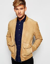 Pepe Jeans Sydow Brown Suede Bomber Jacket Brown