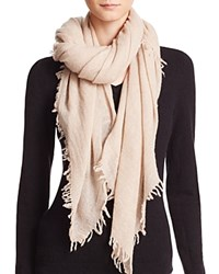 Bloomingdale's C By Bloomingdales Cashmere Solid Woven Scarf Light Oatmeal