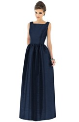 Women's Alfred Sung Square Neck Dupioni Full Length Dress Midnight
