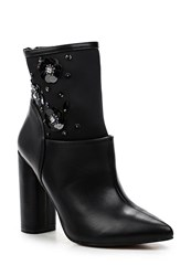 Lost Ink Amelia Sequin Block Heel Ankle Boots Black
