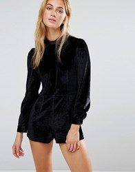 Fashion Union Velvet Playsuit With Collar Black