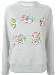 Olympia Le Tan Round Neck Little Twin Star Applique Sweatshirt Grey