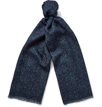 Richard James Donegal Print Cashmere And Silk Blend Scarf Blue