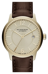 Burberry Automatic Alligator Leather Strap Watch 40Mm Chocolat Light Gold