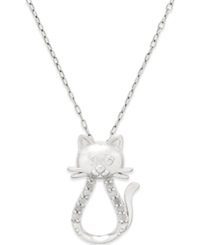 Macy's Diamond Cat Pendant Necklace 1 10 Ct. T.W. In Sterling Silver