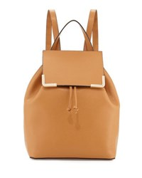 Neiman Marcus Saffiano Flap Drawstring Backpack Camel