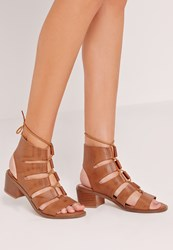 Missguided Block Heel Gladiator Tan Brown