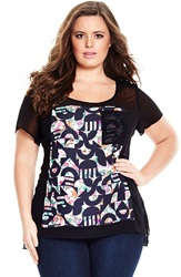 City Chic 'Spliced Geo' Sheer Mixed Media Top Plus Size Black