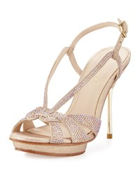 Pelle Moda Perry Crystal Suede Slingback Sandal Platinum Gold