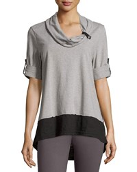 Neon Buddha Surf Contrast Cotton Blend Tunic Black Heather Gray