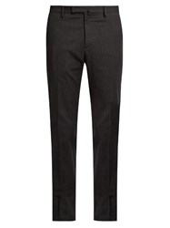 Incotex Slim Leg Herringbone Cotton Blend Trousers Grey