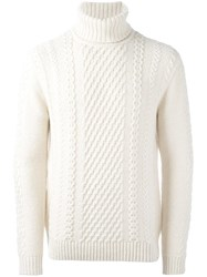 Edwin Cable Knit Jumper White