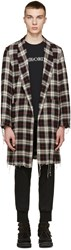 Undercover Black And Red Plaid Shredded Coat