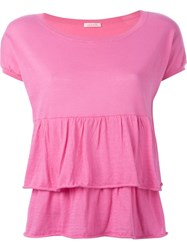 P.A.R.O.S.H. Tiered Scoop Neck Top Pink And Purple