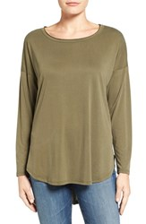Bobeau Women's High Low Long Sleeve Tee Olive