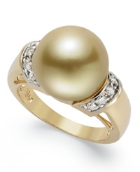 Macy's 14K Gold Ring Golden South Sea Pearl 12Mm And Diamond 1 4 Ct. T.W. Ring