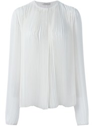 Nina Ricci Long Sleeve Pleated Blouse White