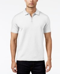 Vince Camuto Men's Waffle Knit Quarter Zip Strech Polo White