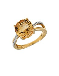 Lord And Taylor Citrine Diamond 14K Yellow Gold Ring