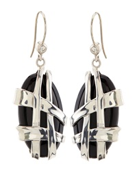Slane Crescent Weave Black Onyx And Diamond Earrings