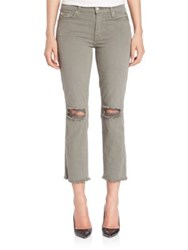 7 For All Mankind Distressed Cropped Pants Moss