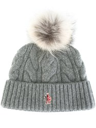 Moncler Grenoble Cable Knit Pompom Beanie Grey