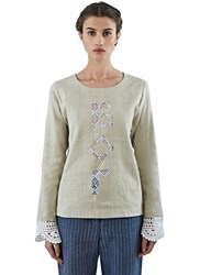 Lana Siberie Crochet Lace God Linen Top Beige