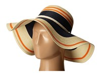 Lauren Ralph Lauren Paper Straw Blocked Stripe Sun Hat Natural Tropical Orange Navy Traditional Hats Neutral