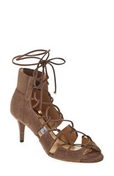 Women's Jimmy Choo 'Myrtle' Laced Leather Bootie Taupe