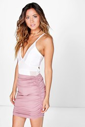 Boohoo Rouched Side Jersey Mini Skirt Rose